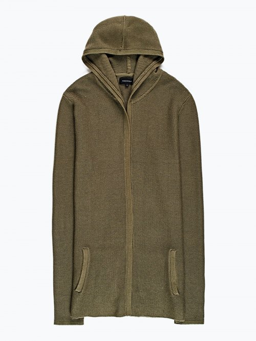 Prolonged cardigan with hood
