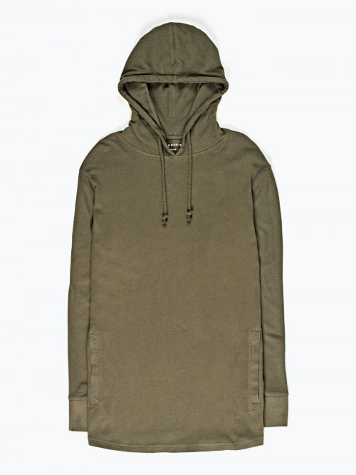 Waffle-knit hooded t-shirt