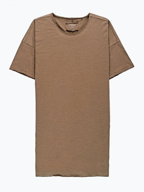 Longline t-shirt with raw edge