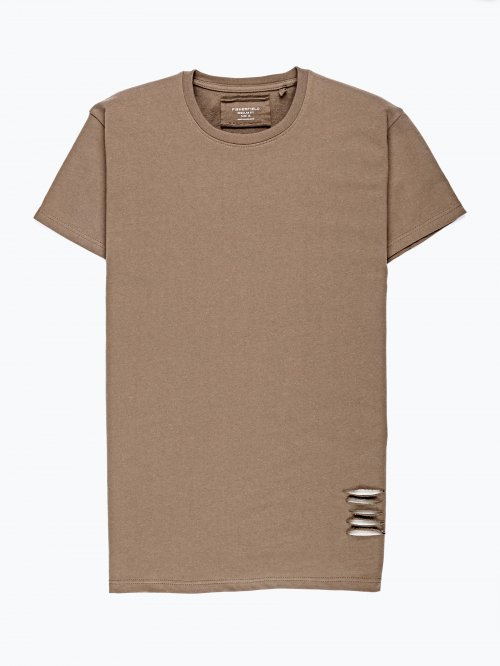 T-shirt with distressed sleeve detail