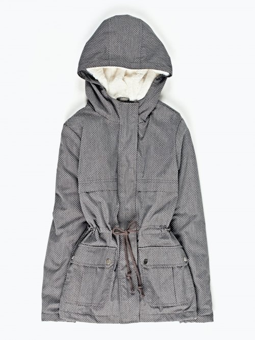 Dot print pile lined parka with hood