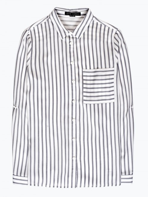 Striped viscose shirt with pocket