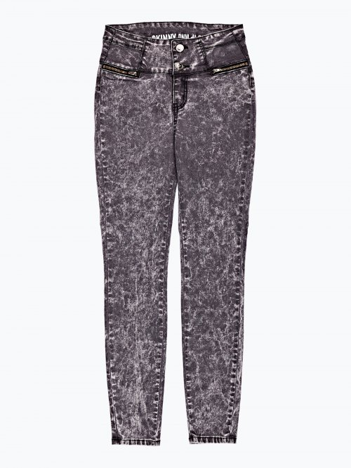 High waist skinny jeans in black snow wash