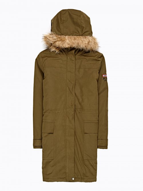 Padded parka with sleeve patch