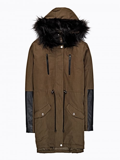 Cotton parka with pu details