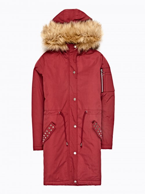 Oversized padded parka with studded pocekt