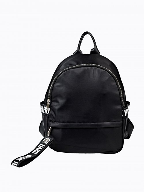 FAUX LEATHER BACKPACK WITH PRINTED TAPE