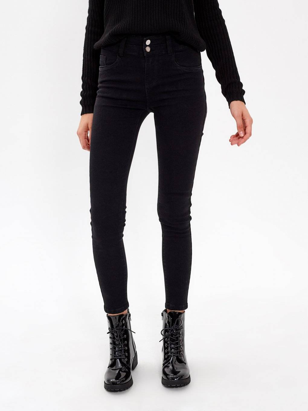 HIGH-WAIST SKINNY JEANS IN DARK BLUE WASH