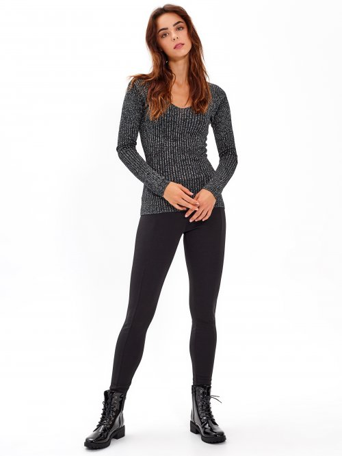 RIB-KNIT METALLIC JUMPER