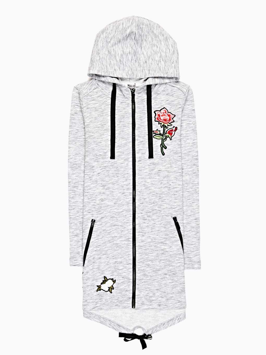 LONGLINE HOODIE WITH FLORAL PATCHES