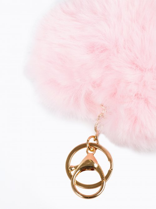 Heart pom pom key ring