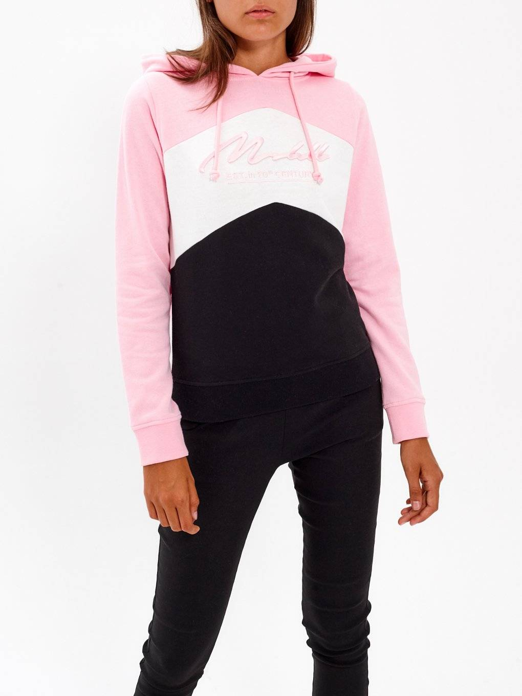 COLOUR BLOCK HOODIE WITH PRINT