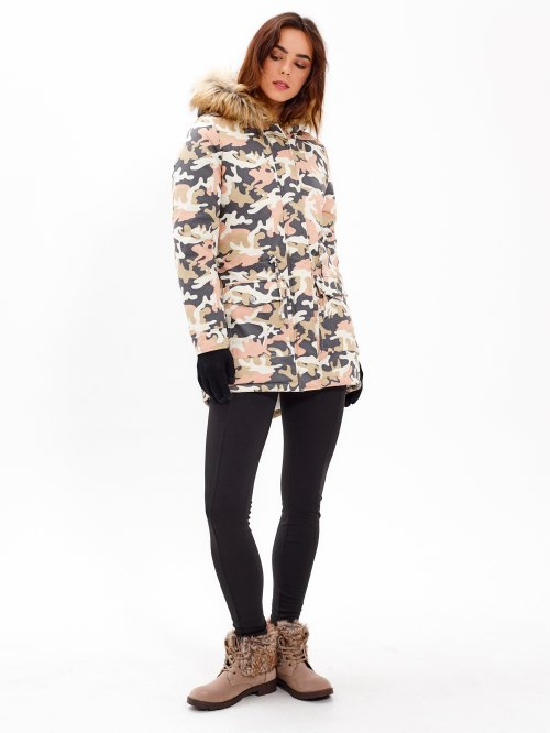 CAMO PRINT PILE LINED COTTON PARKA