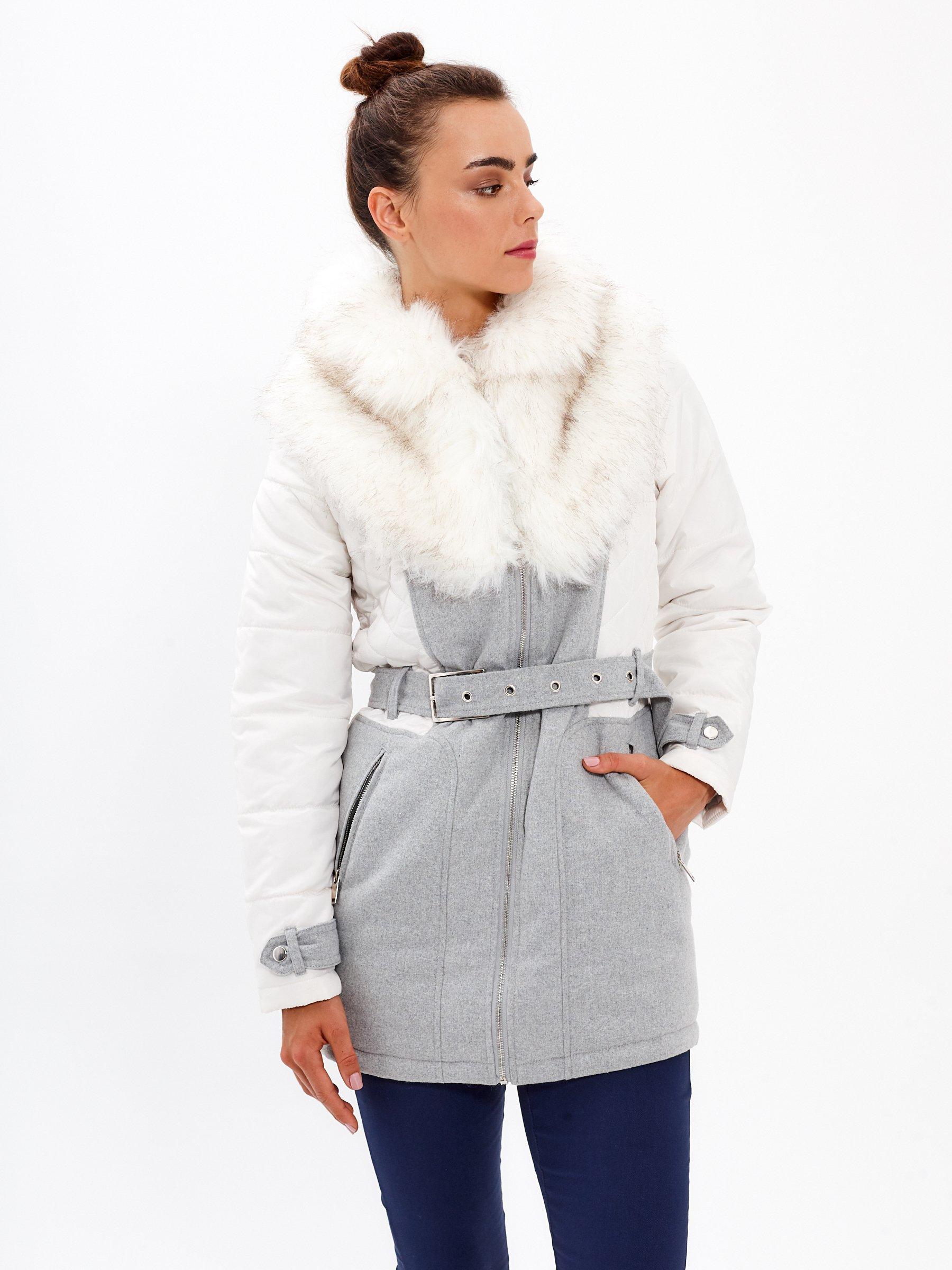 d7b7e2224 Kombinovaný vatovaný kabát s umelou kožušinou | GATE
