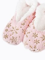SLIPPERS WITH METALLIC SNOWFLAKES