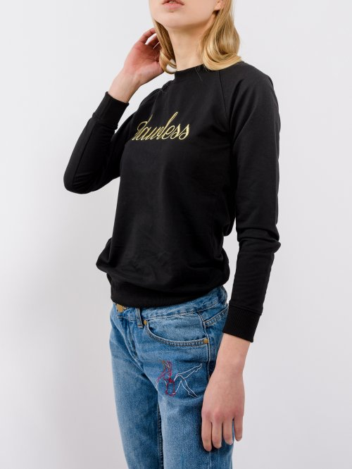 Sweatshirt with gold embroidery