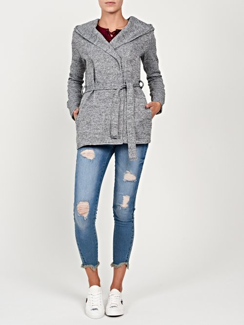 Marled knit jacket with hood