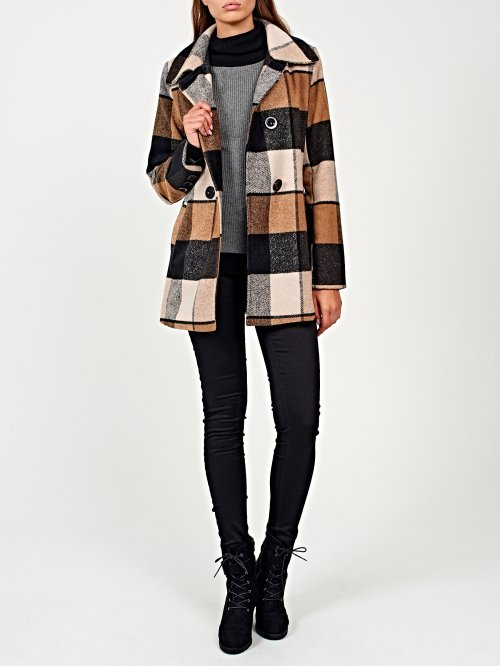 Plaid double-breasted coat in wool blend
