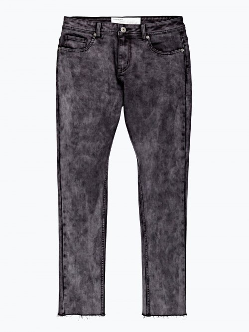 Slim fit jeans with raw egde in grey wash