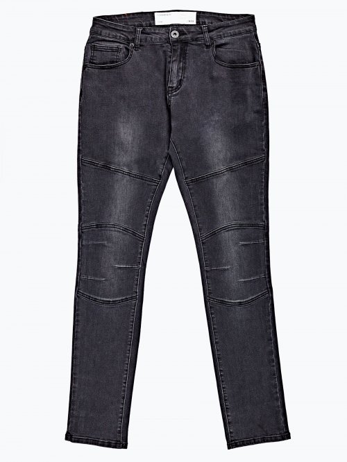Slim fit biker jeans in dark grey wash