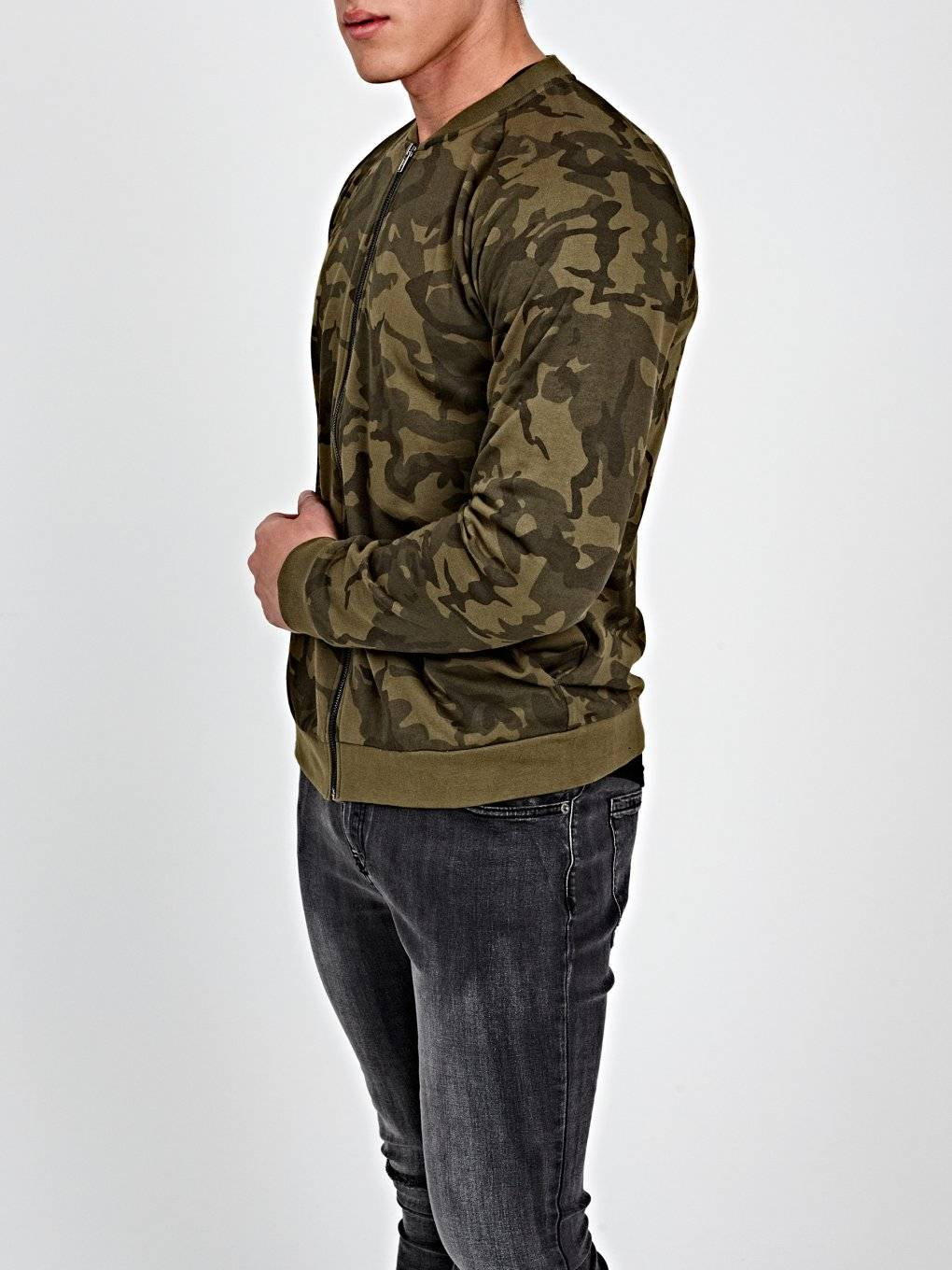 CAMO PRINT ZIP-UP SWEATSHIRT