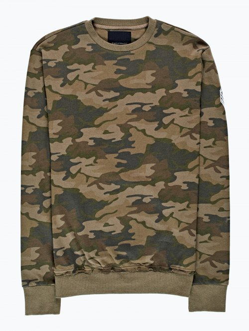 Camo print sweatshirt with patches