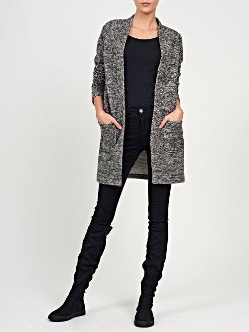 Prolonged marled blazer with pockets