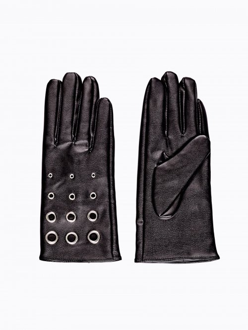 Gloves with eyelets
