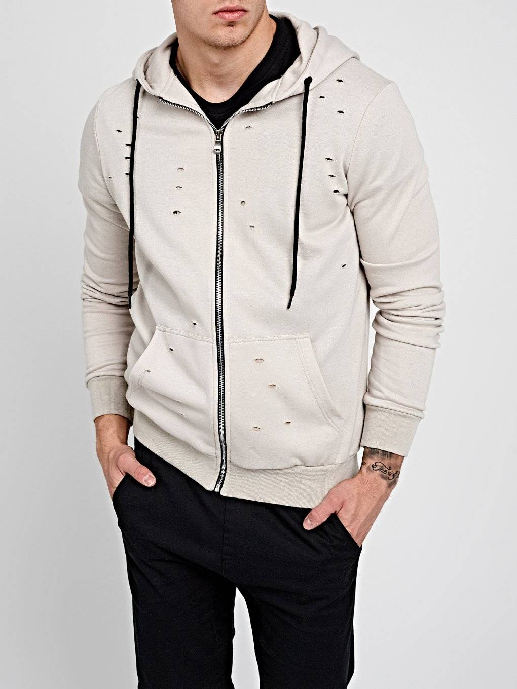 DISTRESSED ZIP-UP HOODIE