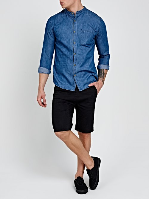 DENIM SHIRT IN MID BLUE WASH