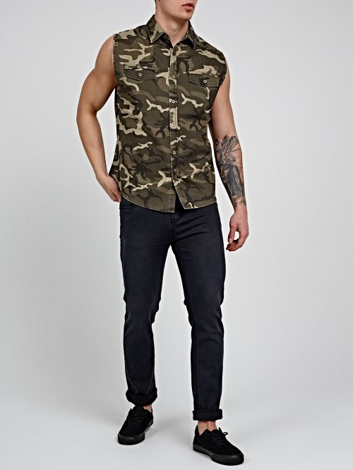 CAMO PRINT SLEEVELESS SHIRT