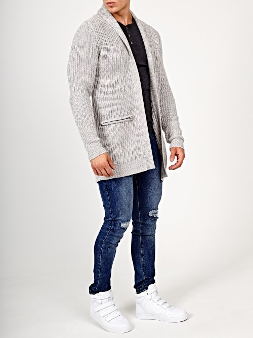 Prolonged cardigan with zip pockets