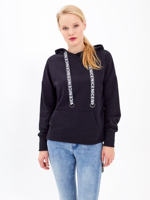 HOODIE WITH MESSAGE PRINT STRING