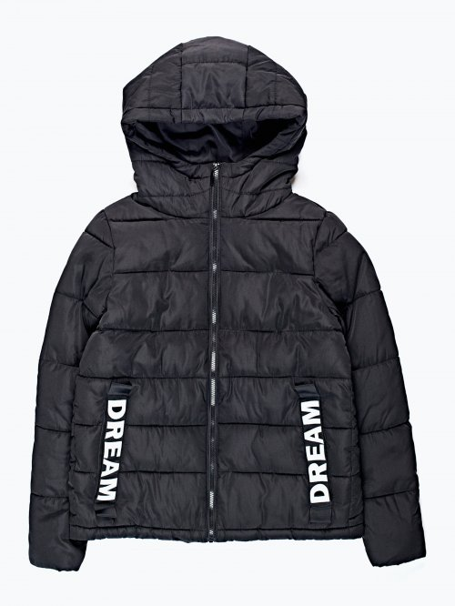 Padded hooded jacket with print detail