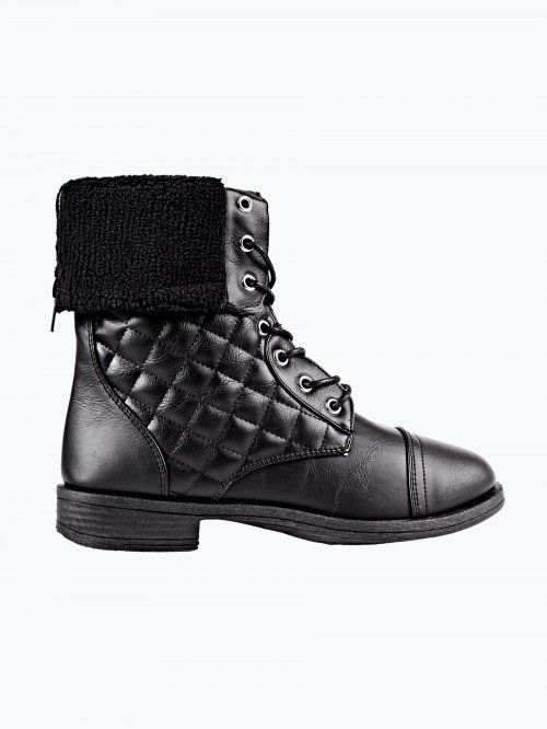 Ankle lace-up boots with quilted detail