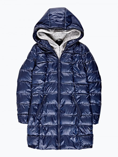 Prolonged quilted padded jacket with double layer hood