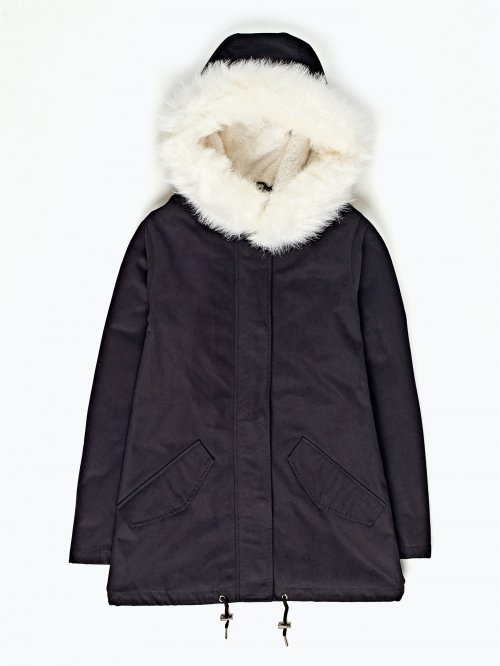 Faux fur lined parka with hood and back print