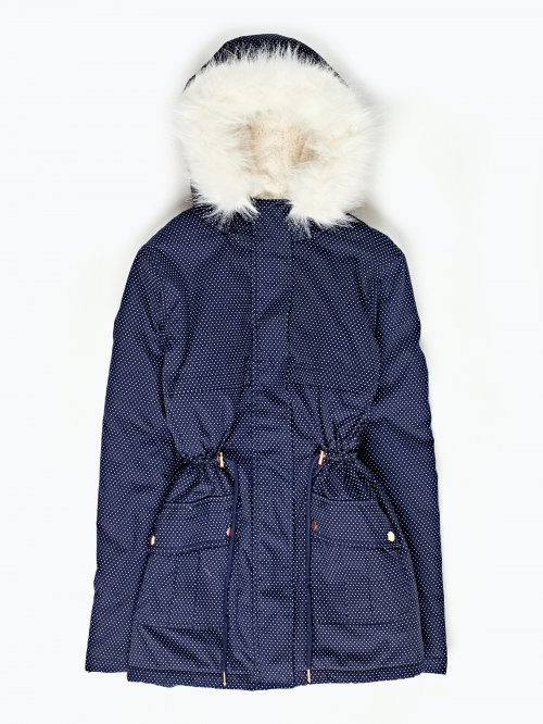 Dot print faux fur lined parka with hood
