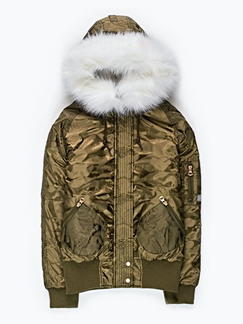 Camo print padded bomber jacket with hood