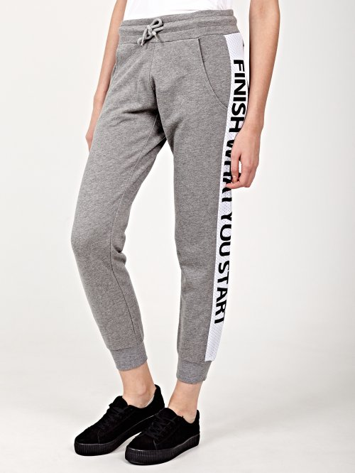 Sweatpants with printed side stripe