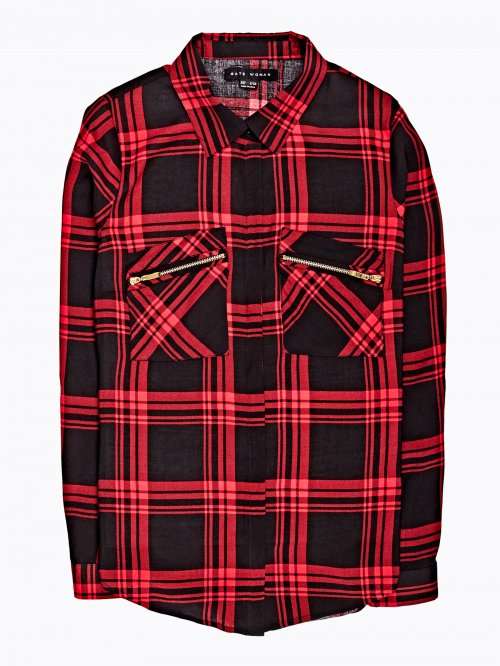 Checked viscose shirt with zipper details