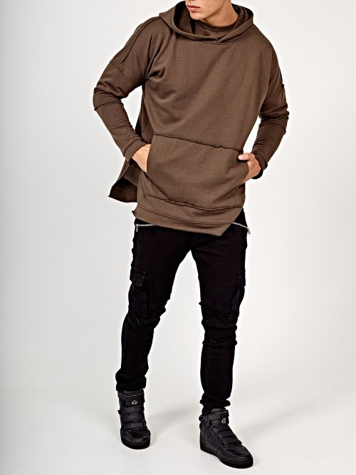 Oversized double layer hoodie with raw cut details