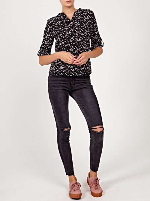 Flower print viscose blouse
