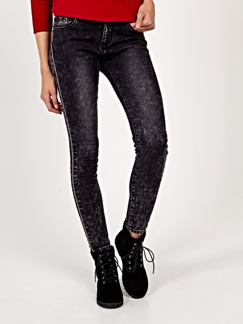 Skinny jeans in black wash with side detail