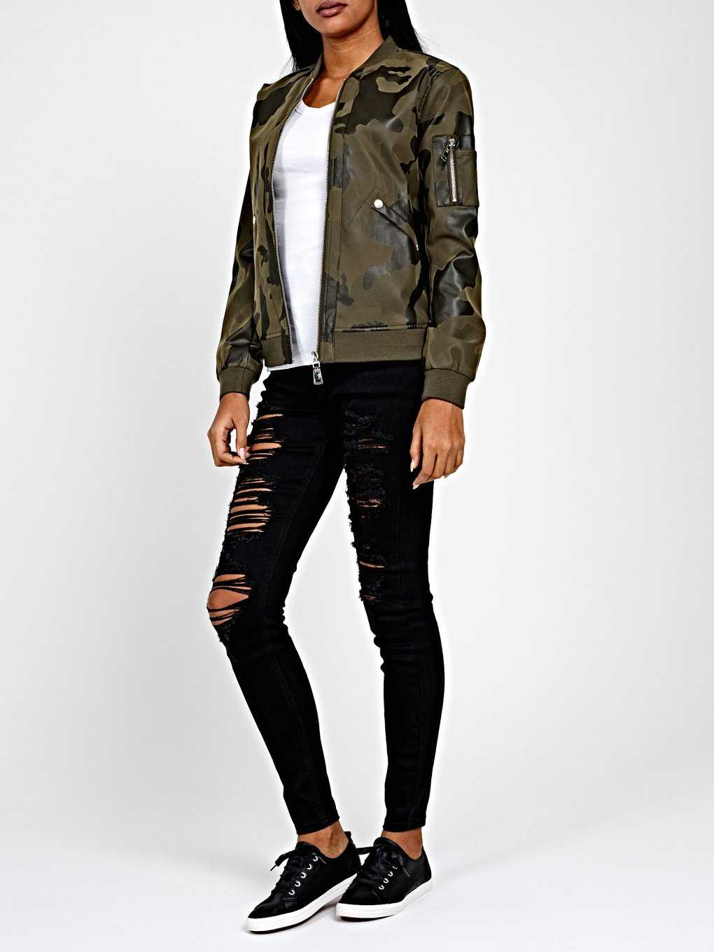 CAMO PRINT FAUX LEATHER BOMBER JACKET