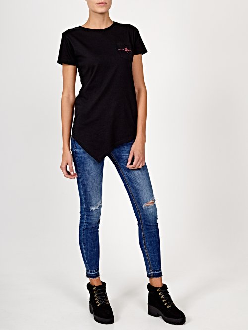 Asymmetrical t-shirt with back print