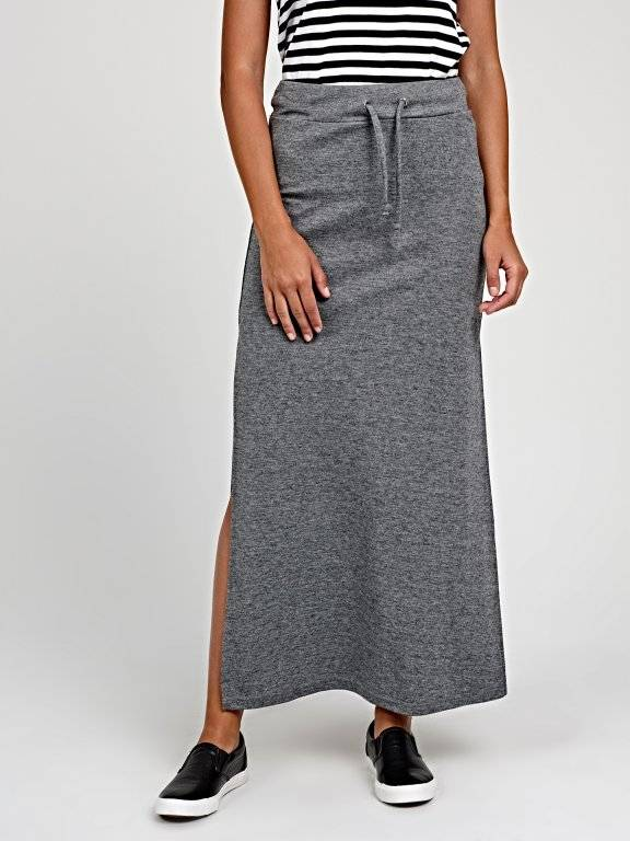 Marled maxi skirt with side slits