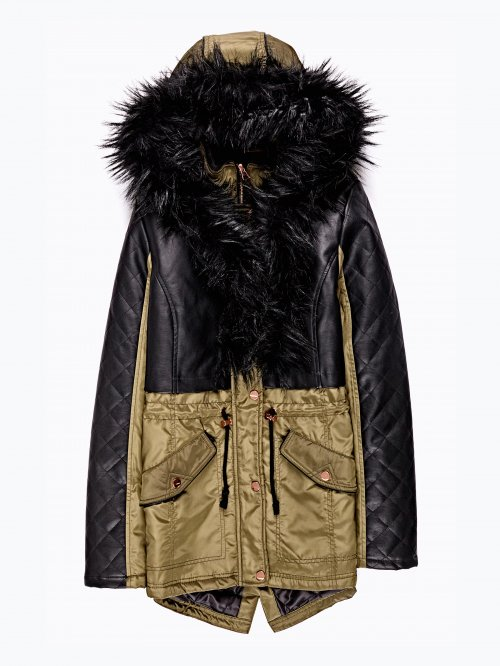 Combined jacket with faux fur detail