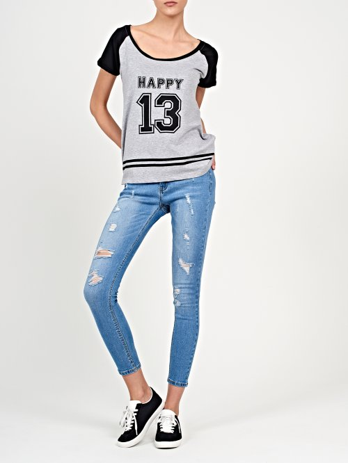Printed t-shirt with contrast sleeves