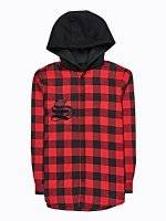 PLAID HOODED SHIRT WITH CHEST EMBROIDERY